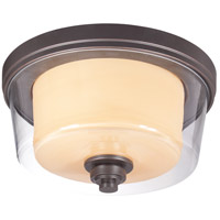 Decker 2 Light 13 inch Sudbury Bronze Flushmount Ceiling Light