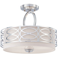 Harlow 3 Light 15 inch Polished  Nickel Semi-Flush Ceiling Light