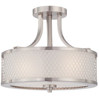 Fusion 3 Light 14 inch Brushed Nickel Semi-Flush Ceiling Light