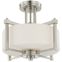 Wright 2 Light 15 inch Brushed Nickel Semi-Flush Ceiling Light