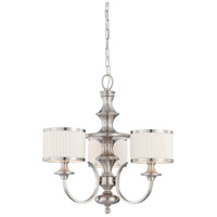 Nuvo 60/4734 Candice 3 Light 24 inch Brushed Nickel Chandelier Ceiling Light
