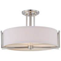 Gemini 3 Light 18 inch Brushed Nickel Semi-Flush Ceiling Light