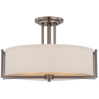 Gemini 3 Light 18 inch Hazel Bronze Semi-Flush Ceiling Light