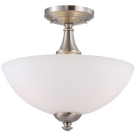 Patton 3 Light 13 inch Brushed Nickel Semi-Flush Mount Ceiling Light
