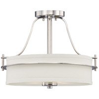 Nuvo 60/5107 Loren 2 Light 15 inch Polished Nickel and White Semi Flush Mount Ceiling Light
