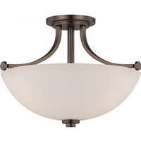 Nuvo Lighting Bentley 3 Light Semi-Flush Mount in Hazel Bronze 60/5117