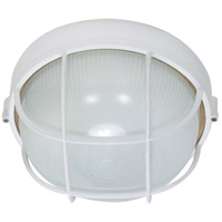 Nuvo 60/518 Signature 1 Light Semi Gloss white Outdoor Wall Lantern, Round Cage