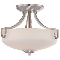 Lola 2 Light 12 inch Brushed Nickel Semi-Flush Mount Ceiling Light