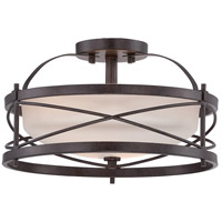 Ginger 2 Light 14 inch Old Bronze Semi-Flush Mount Ceiling Light