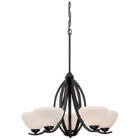 Nuvo Bali 5 Light Chandelier in Textured Black 60/5465