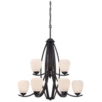 Bali 9 Light 29 inch Textured Black Chandelier Ceiling Light