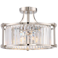 Krys 3 Light 18 inch Polished Nickel Semi Flush Mount Ceiling Light