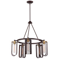 Bandit 5 Light 27 inch Russet Bronze with Vintage Brass Accents Chandelier Ceiling Light