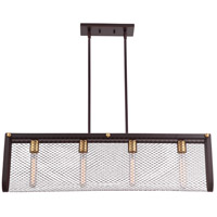 Nuvo 60/5787 Bandit 4 Light 36 inch Russet Bronze with Vintage Brass Accents Pendant Ceiling Light