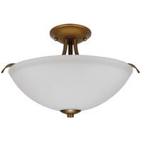 Dillard 2 Light 13 inch Natural Brass Semi Flush Mount Ceiling Light