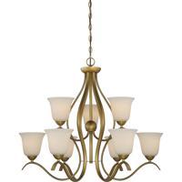 Nuvo 60/5819 Dillard 9 Light 31 inch Natural Brass Chandelier Ceiling Light