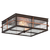 Howell 2 Light 12 inch Bronze with Copper Accents Outdoor Flush Mount