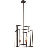 Lake 2 Light 14 inch Bronze with Copper Accents Pendant Ceiling Light, Square