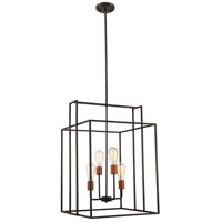 Lake 4 Light 19 inch Bronze with Copper Accents Pendant Ceiling Light, Square