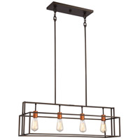 Lake 4 Light 36 inch Bronze with Copper Accents Pendant Ceiling Light
