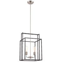 Lake 2 Light 14 inch Iron Black with Brushed Nickel Accents Pendant Ceiling Light, Square