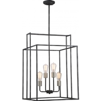 Lake 4 Light 19 inch Iron Black with Brushed Nickel Accents Pendant Ceiling Light, Square