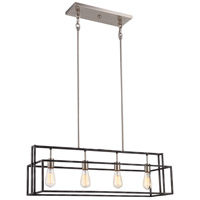 Lake 4 Light 36 inch Iron Black with Brushed Nickel Accents Pendant Ceiling Light