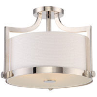 Meadow 3 Light 16 inch Polished Nickel Semi Flush Mount Ceiling Light