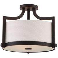 Meadow 3 Light 16 inch Russet Bronze Semi Flush Mount Ceiling Light