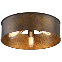 Kettle 3 Light 12 inch Weathered Brass Flush Mount Ceiling Light
