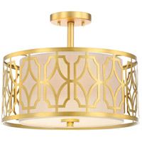 Nuvo 60/5937 Filigree 2 Light 15 inch Natural Brass Semi Flush Mount Ceiling Light
