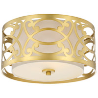 Filigree 2 Light 15 inch Natural Brass Flush Mount Ceiling Light