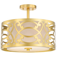 Nuvo 60/5967 Filigree 2 Light 15 inch Natural Brass Semi Flush Mount Ceiling Light