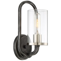 Sherwood 1 Light 6 inch Iron Black with Brushed Nickel Accents Wall Sconce Wall Light