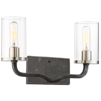 Sherwood 2 Light 16 inch Iron Black with Brushed Nickel Accents Vanity Light Wall Light
