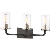 Sherwood 3 Light 24 inch Iron Black with Brushed Nickel Accents Vanity Light Wall Light