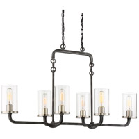 Sherwood 6 Light 38 inch Iron Black with Brushed Nickel Accents Island Pendant Ceiling Light