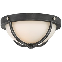 Sherwood 2 Light 15 inch Iron Black with Brushed Nickel Accents Flush Mount Ceiling Light