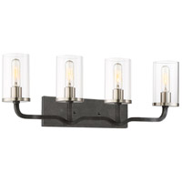 Sherwood 4 Light 32 inch Iron Black with Brushed Nickel Accents Vanity Light Wall Light