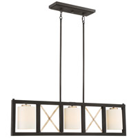 Boxer 3 Light 38 inch Matte Black and Antique Silver Accents Island Pendant Ceiling Light
