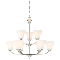 Nuvo 60/6209 Fawn 9 Light 30 inch Brushed Nickel Chandelier Ceiling Light