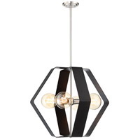 Nuvo 60/6393 Zen 4 Light 24 inch Matte Black and Brushed Nickel Pendant Ceiling Light