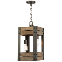 Winchester 2 Light 11 inch Bronze and Aged Wood Pendant Ceiling Light