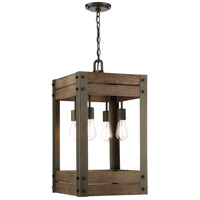 Winchester 4 Light 15 inch Bronze and Aged Wood Pendant Ceiling Light