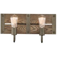 Winchester 2 Light 16 inch Bronze and Aged Wood Wall Sconce Wall Light