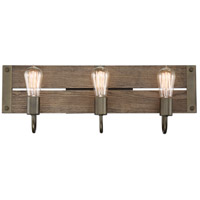 Winchester 3 Light 24 inch Bronze and Aged Wood Wall Sconce Wall Light