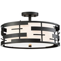 Lansing 3 Light 16 inch Textured Black Flush Mount Ceiling Light