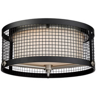Pratt 3 Light 17 inch Black with Brushed Nickel Accents Flush Mount Ceiling Light