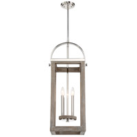 Bliss 4 Light 12 inch Driftwood and Polished Nickel Pendant Ceiling Light