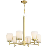Nuvo 60/6536 Serene 6 Light 26 inch Natural Brass Chandelier Ceiling Light